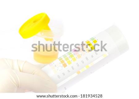 Testing a urine sample - stock photo