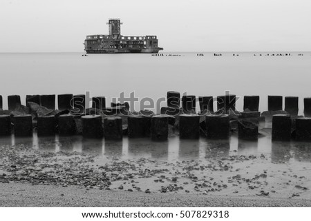 Testing center of torpedoes for Luftwaffe during the World War II and wooden breakwaters, Gdynia Babie Doly, Poland