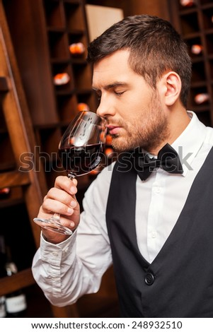 Testing wine. Confident male sommelier testing wine while standing near the shelf with wine