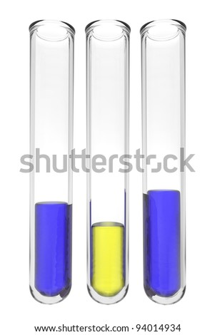 testtubes with fluids in european colors on white background