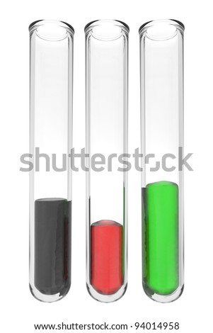 testtubes with liquids in afghan colors on white background
