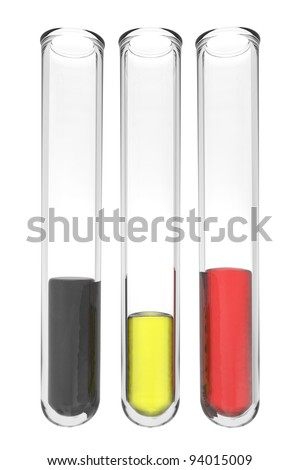 testtubes with liquids in german colors on white background