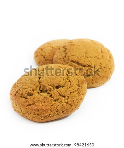 testy oatmeal cookies isolated on white
