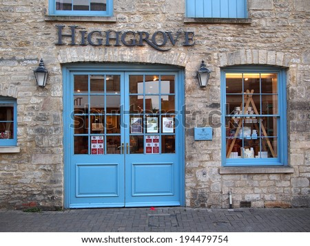 TETBURY, UK - AUG 25, 2013: The front of the royal Highgrove Shop, the store of Prince Charles in Tetbury, a town in the Cotswolds, England, UK. - stock photo