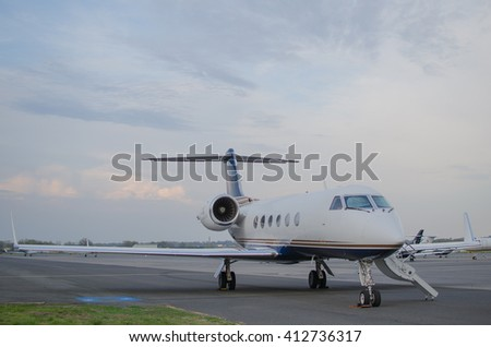 Teterboro, NJ April, 2016, A private jet awaits passengers, while on a taxiway