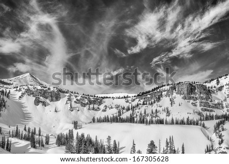 Teton backcountry sky Monochrome taken west of Jackson Hole mountain resort.   - stock photo