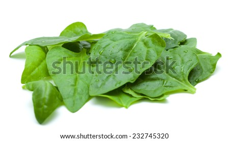Tetragonia tetragonioides, New Zealand spinach, isolated on white - stock photo