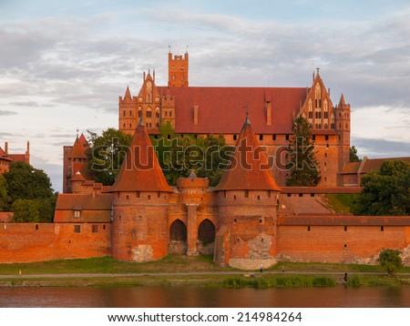 Teutonic Castle in Malbork (Marienburg) in Pomerania (Poland)  - stock photo