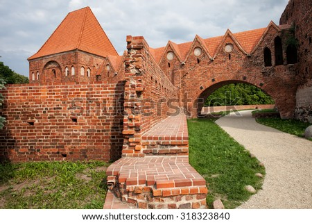 Teutonic Knights Castle in Torun, Poland, historic city landmark dating back to 13th century.