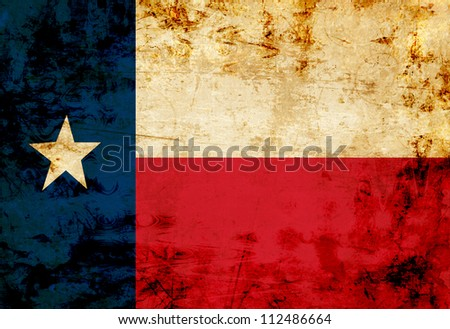 Texan flag with a vintage and old look - stock photo