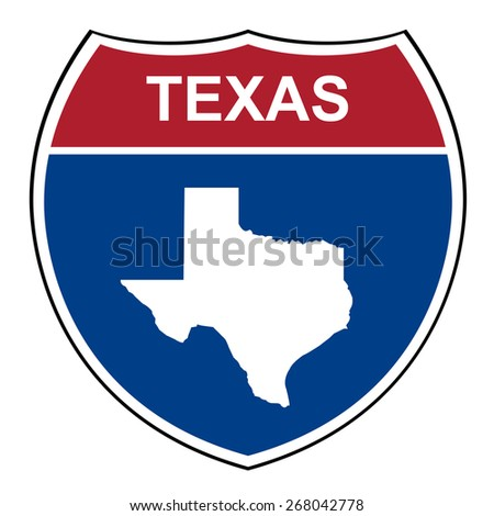 Texas American interstate highway road shield isolated on a white background. - stock photo
