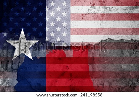 Texas flag America flag and wall background