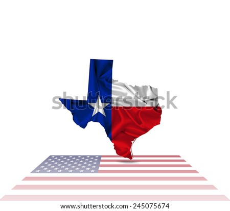 Texas flag map,America flag and white background - stock photo