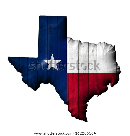 texas flag, map, wood,  white ,background - stock photo