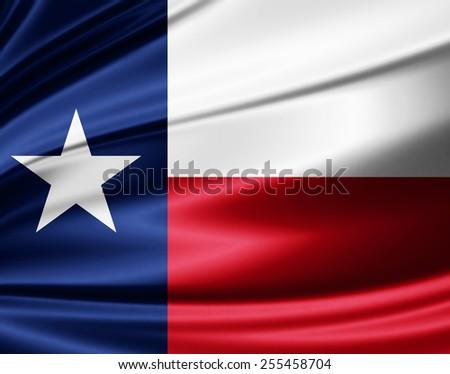 Texas flag of silk  - stock photo