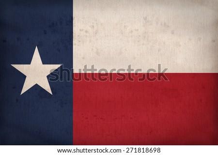 Texas flag on fabric texture,retro vintage style - stock photo