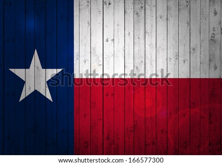texas  flag, wood background - stock photo