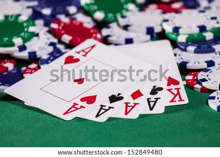 Texas Hold'em Poker Chips & Cards - stock photo