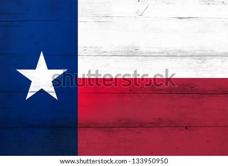 Texas Lone Star Flag on barn wood (aged) - stock photo