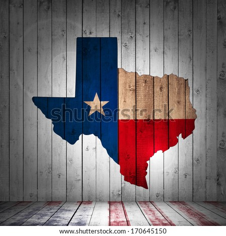 Texas map and wood background - stock photo