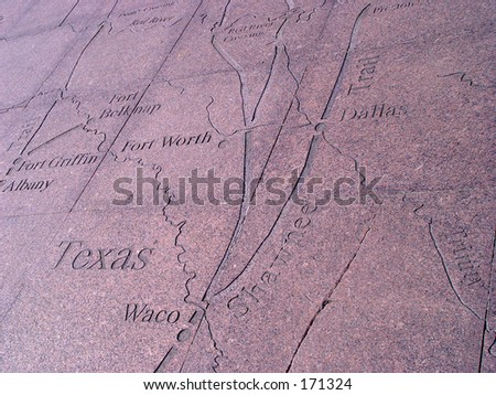 Texas map carved in granite - stock photo