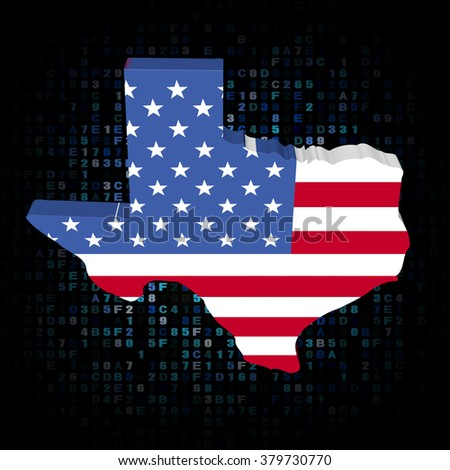 Texas map flag on hex code illustration