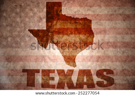 texas map on a vintage american flag background - stock photo