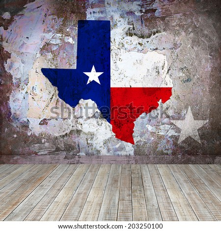 Texas map with wood and wall background - stock photo