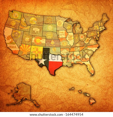 texas on old vintage map of usa with state borders
