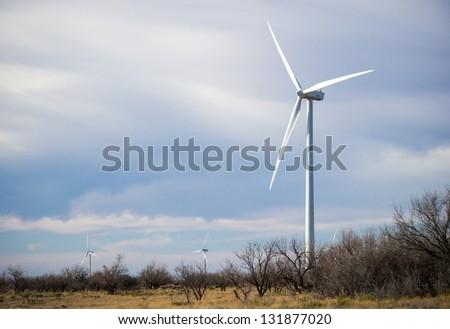 Texas renewable energy windmill / wind turbine farm - stock photo