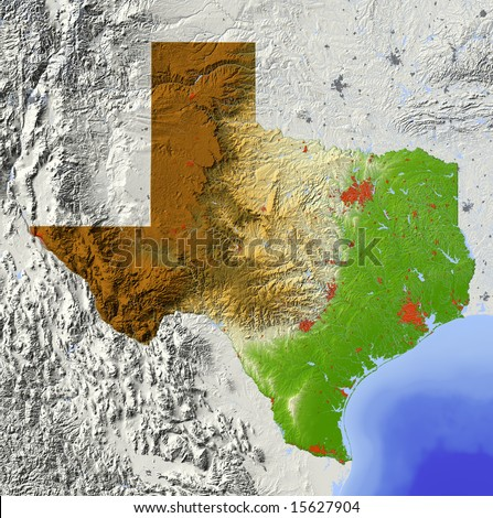Texas. Shaded relief map, with major urban areas and rivers, surrounding territory greyed out. Colored according to elevation. Clipping path for the state area included. Data source: NASA