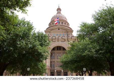 Texas State Capitol Building amongst the Live Oaks - stock photo