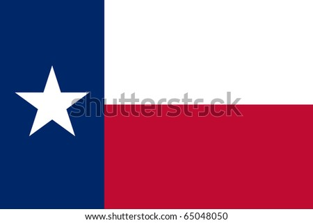 Texas state flag of America, isolated on white background. - stock photo