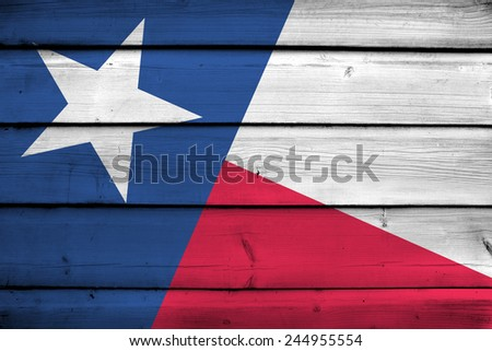 Texas State Flag on wood background - stock photo