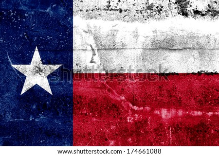 Texas State Flag painted on grunge wall - stock photo
