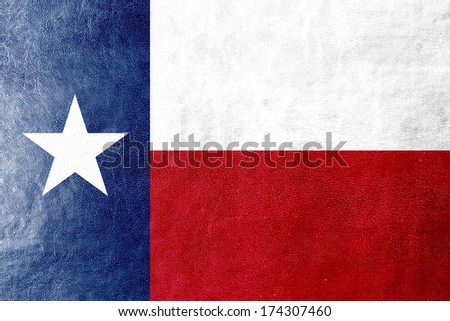 Texas State Flag painted on leather texture - stock photo