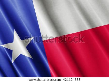 Texas waving flag close - stock photo