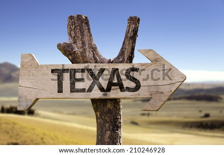 Texas wooden sign isolated on desert background - stock photo