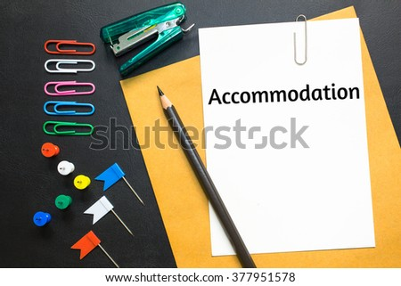 Text accommodation on white paper - stock photo