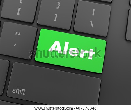 Text alert button, 3d rendering