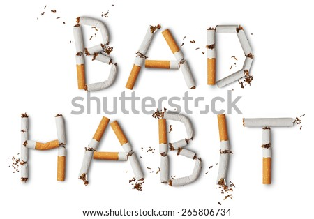 Text ''Bad Habit'' made from broken cigarettes - stock photo