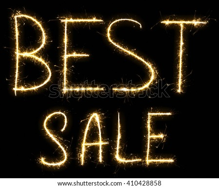 Text Best Sale made by sparkler. Isolated on a black background