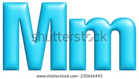 Text blue alphabets big and small M isolated on white background