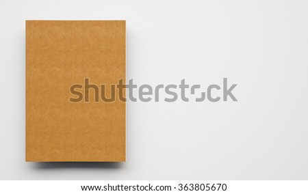 Text book with leather cover on the light background. 3d render - stock photo