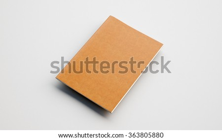 Text book with leather cover on the light background. Golden color. 3d render - stock photo