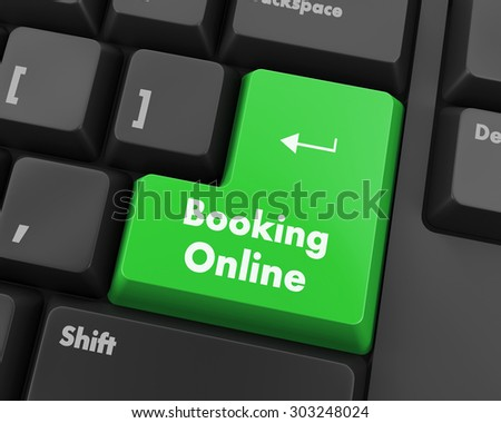 Text booking online button 3d render