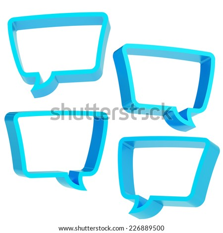Text bubble blue dimensional shapes isolated over the white background, set of four foreshortenings - stock photo