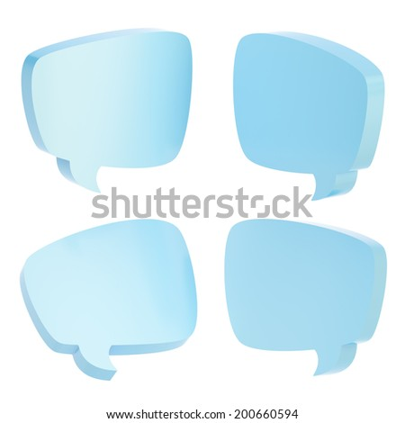 Text bubble dimensional light blue colored shapes isolated over the white background, set of four foreshortenings - stock photo