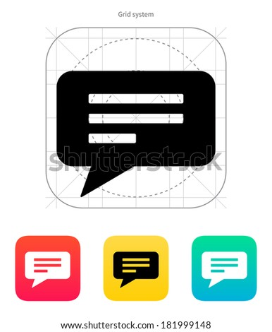 Text bubble icon on white background. - stock photo
