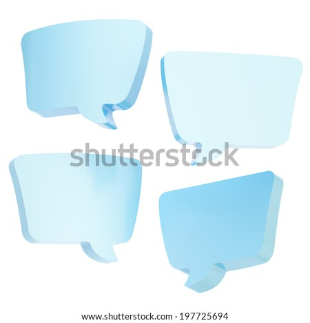 Text bubble light blue dimensional shapes isolated over the white background, set of four foreshortenings - stock photo